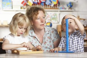 children building with child care provider