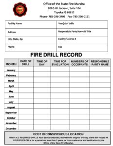 fire drill log fire marshall child care aware of kansas
