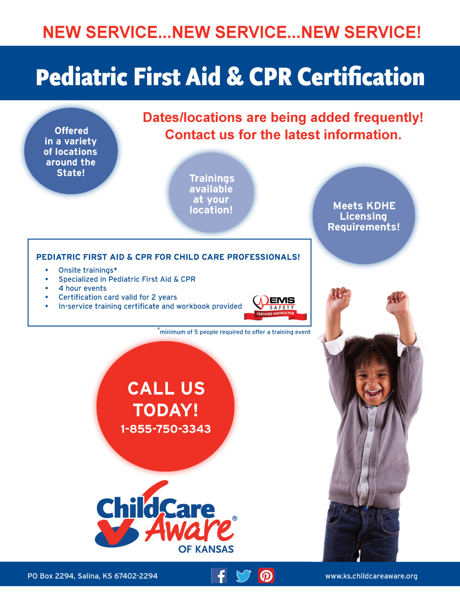 Now offering pediatric first aid cpr child care aware of kansas cpr fa training promo flyer all trainers 1betcityfo Images